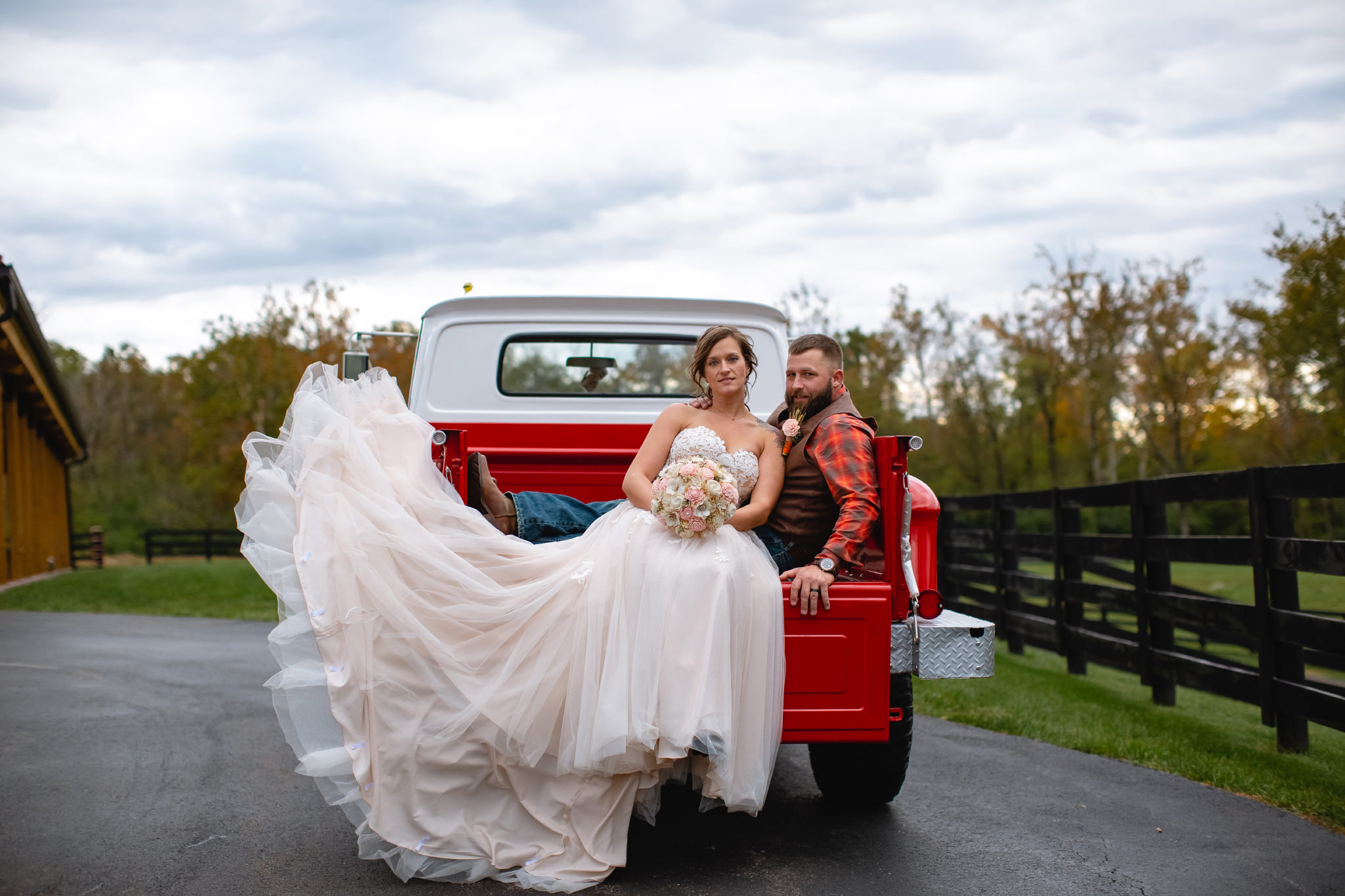 Photographer, Miamisburg, Kettering, Red Truck, Flying Dress, Bride, Groom